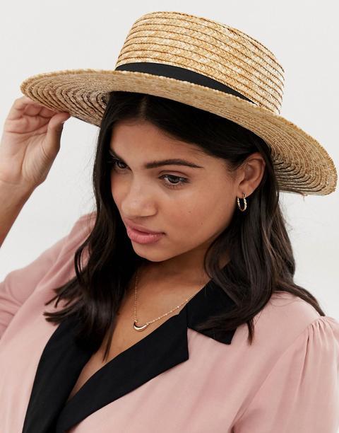 Sombrero Canotié De Paja Con Cinta Negra De South Beach-beis