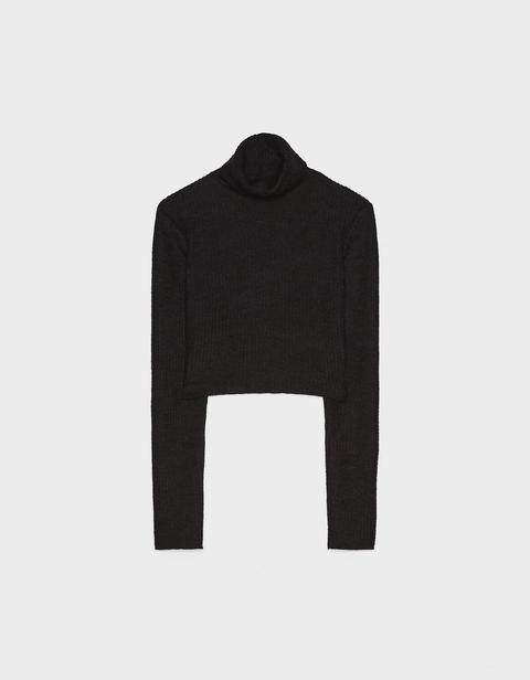 Jersey Cropped Con Cuello Vuelto