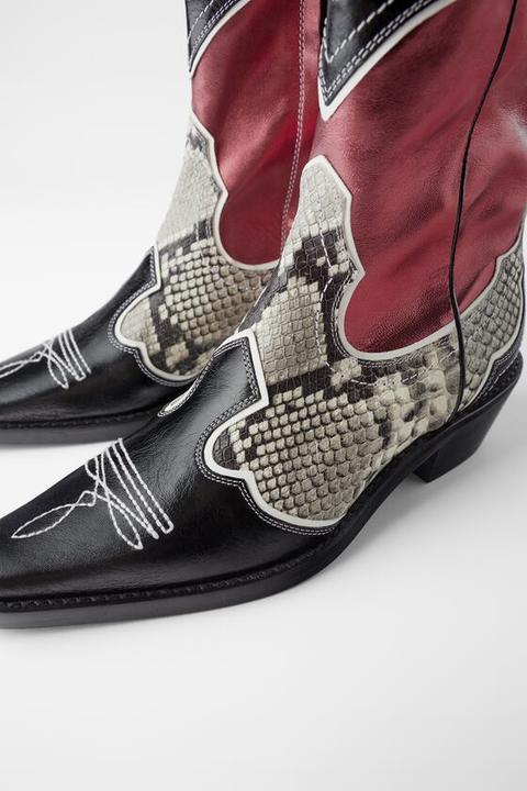 Botín Piel Tacón Cowboy Combinado
