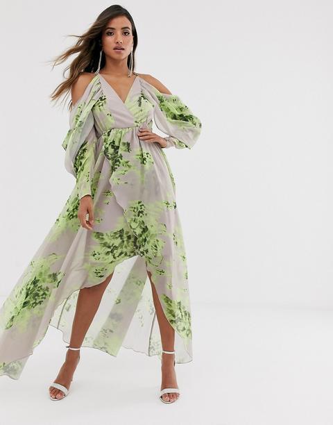 Vestido Largo Con Hombros Descubiertos Y Estampado Floral De Asos Design de ASOS en 21 Buttons