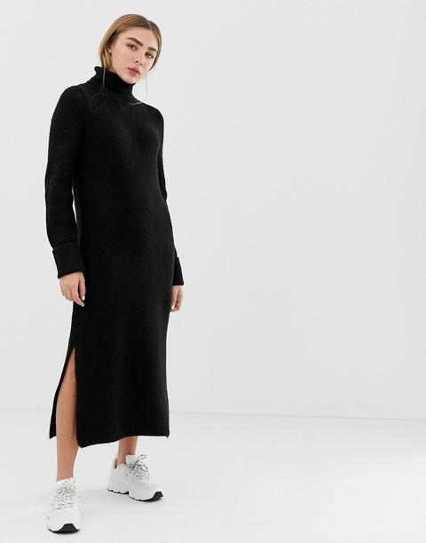 Asos Design Sweater Dress In Midi Length With Side Splits - Black