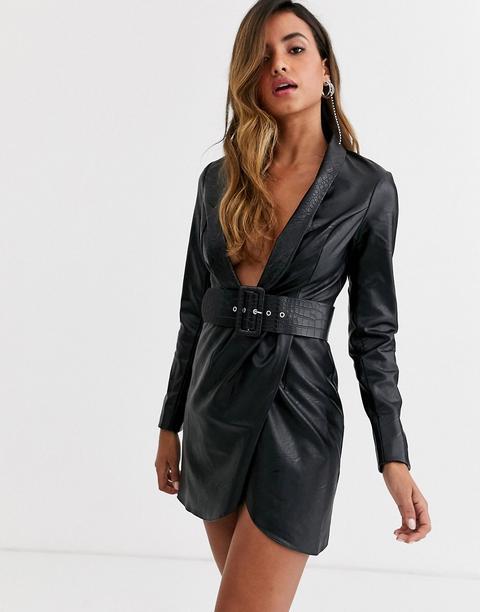 Vestido Estilo Esmoquin De Poliuretano Con Cinturón De Efecto Cocodrilo De Asos Design-negro de ASOS en 21 Buttons