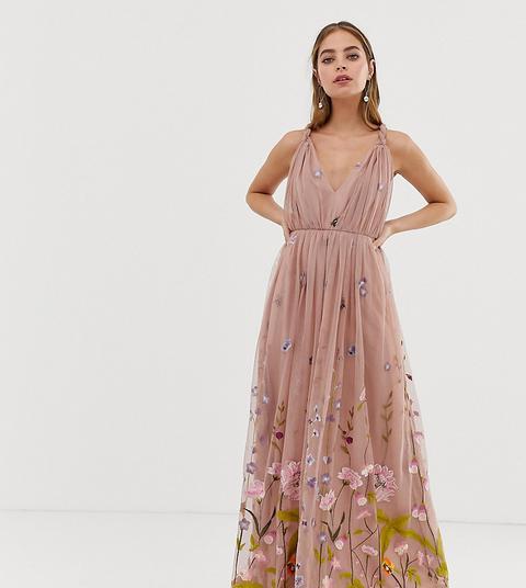 Vestido Largo De Tul Con Bordado Floral Delicado Y Tirantes Retorcidos De Asos Design Petite de ASOS en 21 Buttons