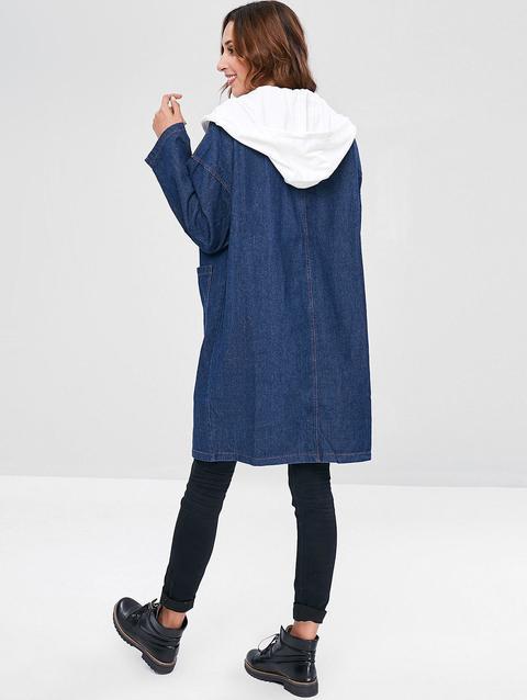 online retailer a20e1 67fea Cappotto Di Jeans Con Cappuccio Midnight Blue from Zaful on 21 Buttons