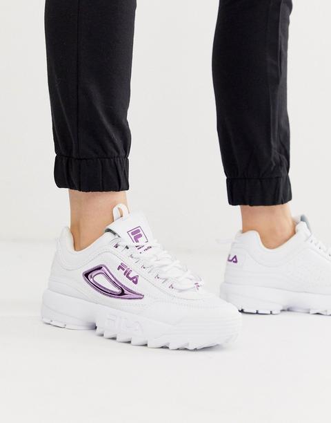 Zapatillas De Deporte Blancas Con Detalles Violeta Metalizado Disruptor Ii De Fila de ASOS en 21 Buttons
