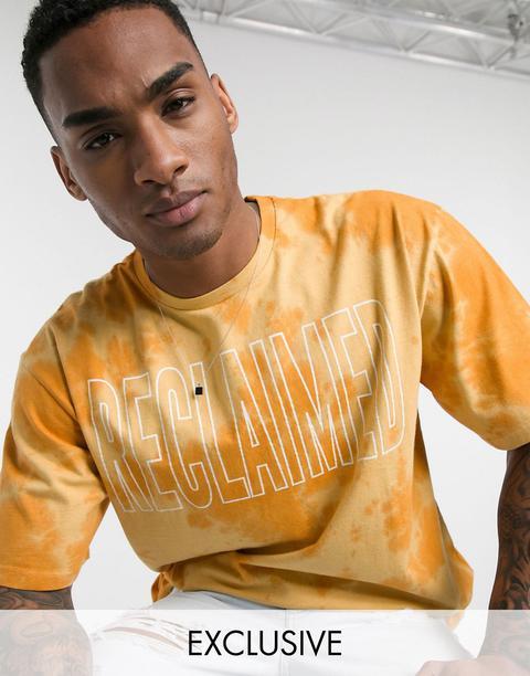 Reclaimed Vintage Inspired Tie Dye Logo Print T-shirt In Orange-stone