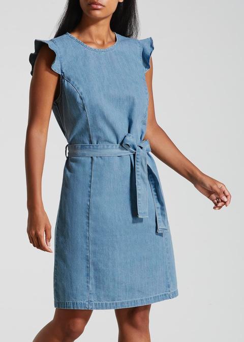 Frill Belted Denim Dress