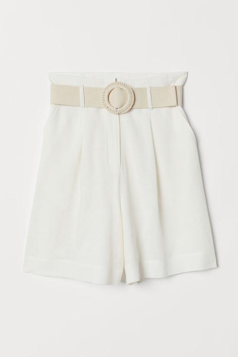 Shorts Aus Leinenmischung - White - Damen