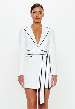 Peace + Love Vestido Blazer Con Ribete En Blanco de Missguided en 21 Buttons