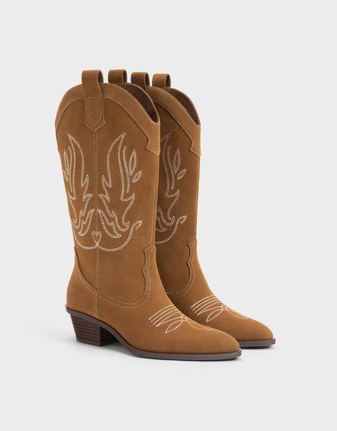 Botas Cowboy Piel de Bershka en 21 Buttons