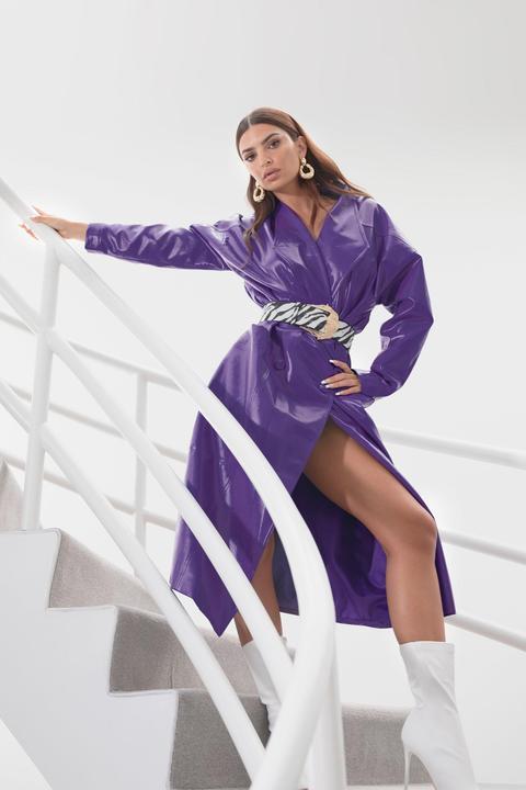 Womens Trench Oversize En Similicuir Je Similite Pour La Bonne Cause - Violet - 38, Violet