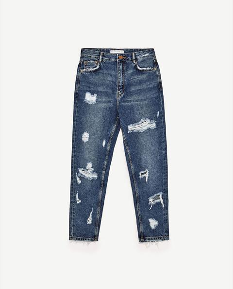 Jeans Mom Fit Tiro Alto Rotos