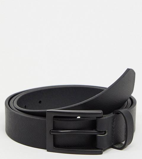 Cinturón Estrecho De Cuero Negro Con Hebilla Negra Mate De Asos Design Plus