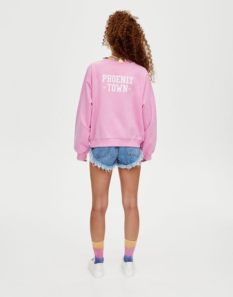 Rosa Sweatshirt Mit Print Auf Dem Rücken