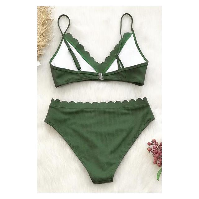 Algae Green Alto Bikini Neón En De Cuello Zaful Buttons 21 lJuFK1T3c