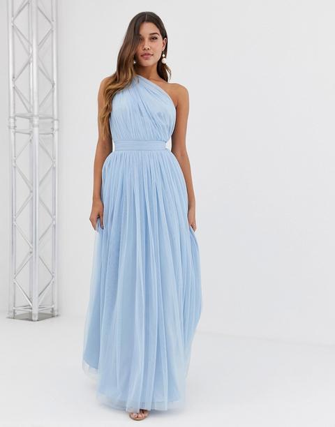 Vestido Largo Asimétrico De Tul De Asos Design-azul de ASOS en 21 Buttons