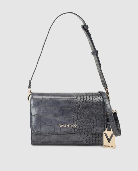 Valentino - Bandolera De Mujer En Gris Oscuro Con Grabado Coco
