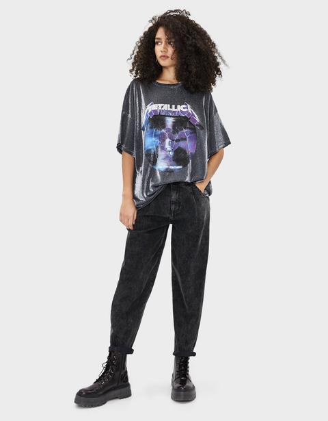 Camiseta Metallica Con Brillos