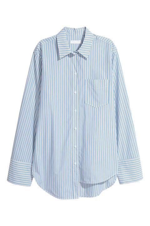 H & M - H & M+ Camisa de lino hm azul Lino