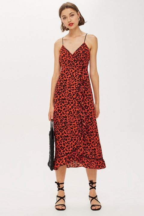 Leopard Print Ruffle Slip Dress