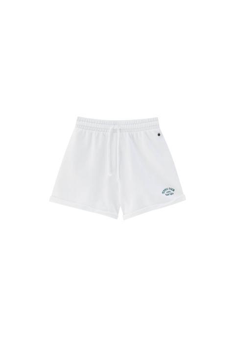 Short Jogger Blanc Broderie Tennis
