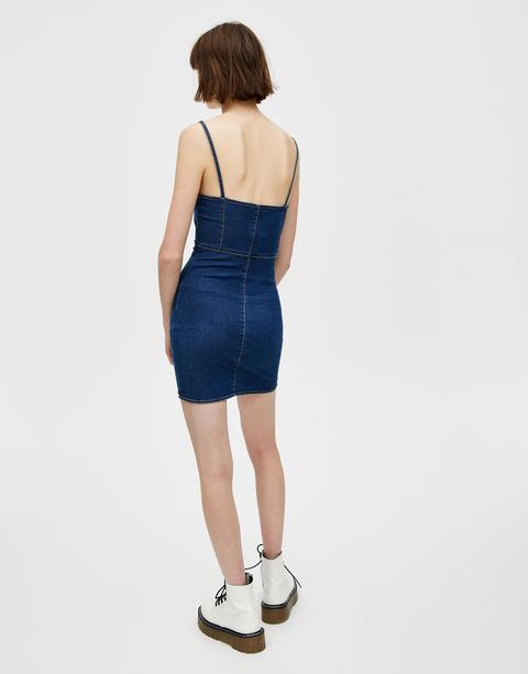 Vestito Mini Di Jeans Spalline