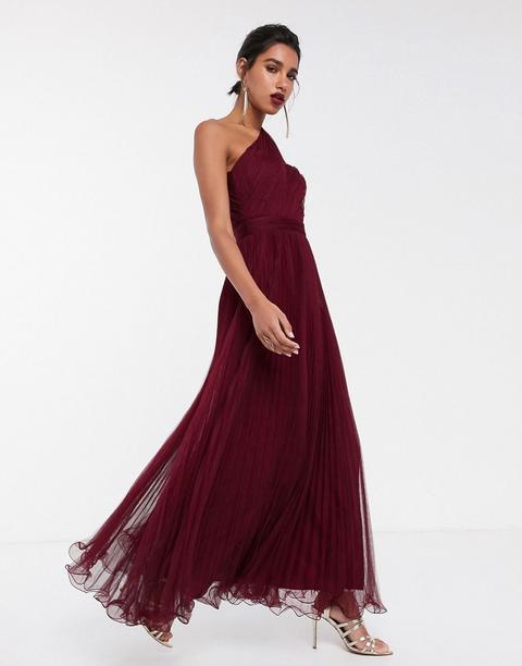 Vestido Largo Asimétrico En Tul Con Alambre En El Bajo De Asos Design-rojo