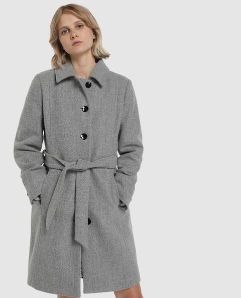Fórmula Joven - Abrigo De Mujer Gris Con Cinturón de El Corte Ingles en 21 Buttons